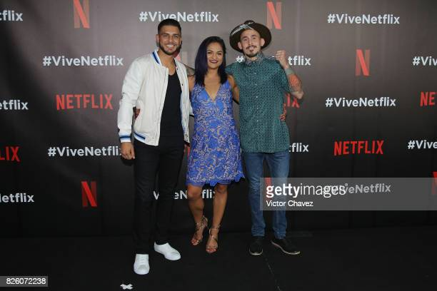 Jay Rodriguez Cynthia Calvillo and Marlon Vera attend the Vive Netflix 2017 at Museo Casa de la Bola on August 2 2017 in Mexico City Mexico