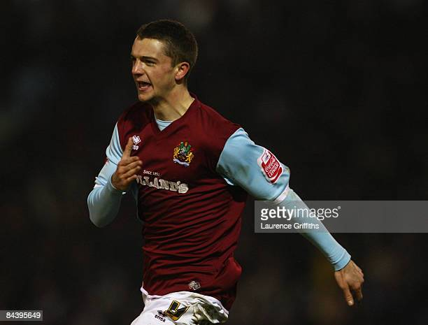 Jay Rodriguez of Burnley celebrates scoring his team's third goal during the Carling Cup Semi Final 2nd Leg match between Burnley and Tottenham...