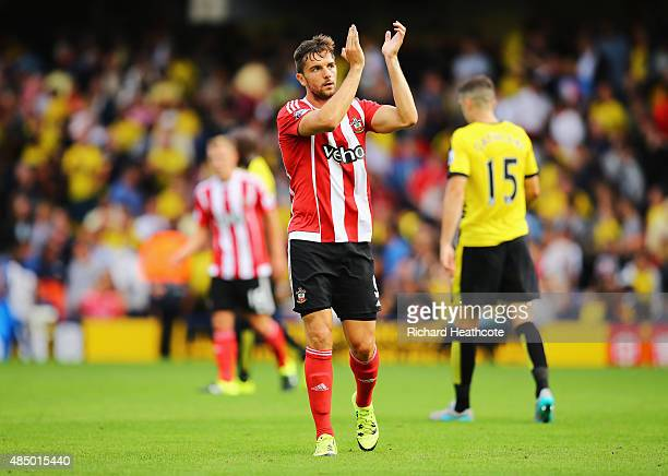 Jay Rodriguez of Southampton applauds the fans after the Barclays Premier League match between Watford and Southampton at Vicarage Road on August 23...