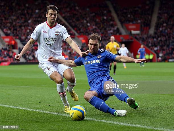 Jay Rodriguez of Southampton battles with Branislav Ivanovic of Chelsea during the FA Cup Third Round match between Southampton and Chelsea at St...