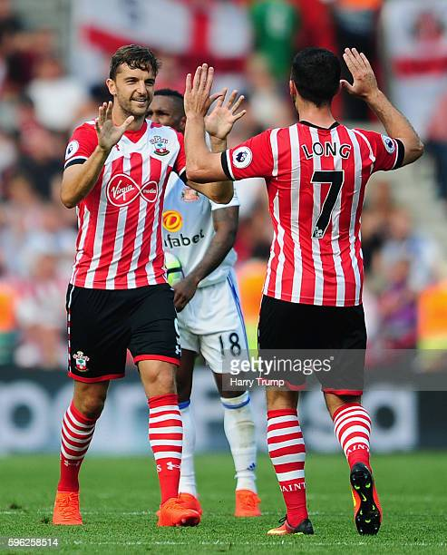 Jay Rodriguez of Southampton celebrates after scoring his sides first goal during the Premier League match between Southampton and Sunderland at St...