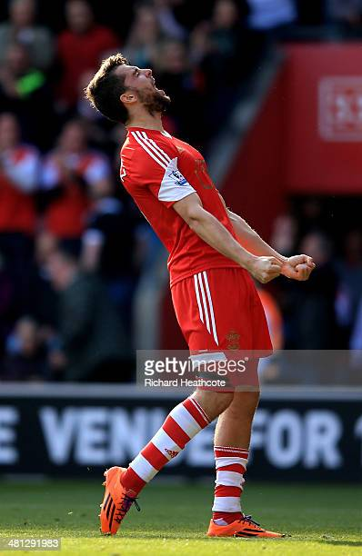 Jay Rodriguez of Southampton celebrates after scoring the opening goal during the Barclays Premier League match between Southampton and Newcastle...