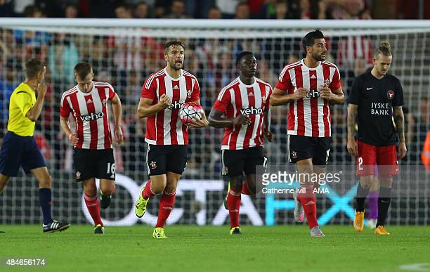 Jay Rodriguez of Southampton celebrates as he runs back up the pitch after scoring a penalty to make it 11 during the UEFA Europa League Play Off...