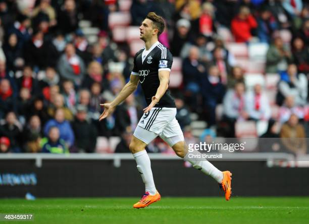 Jay Rodriguez of Southampton celebrates as he scores their first goal during the Barclays Premier League match between Sunderland and Southampton at...