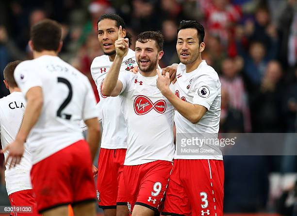 Jay Rodriguez of Southampton celebrates scoring his sides second goal with Maya Yoshida of Southampton during the Premier League match between AFC...