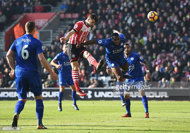 Jay Rodriguez of Southampton heads during the Premier League match between Southampton and Leicester City at St Mary's Stadium on January 22 2017 in...