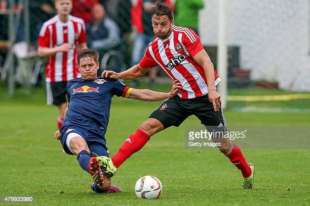 Jay Rodriguez of Southampton in action during the preseason friendly match between RB Leipzig and FC Southampton at Bischofshofen stadium on July 8...