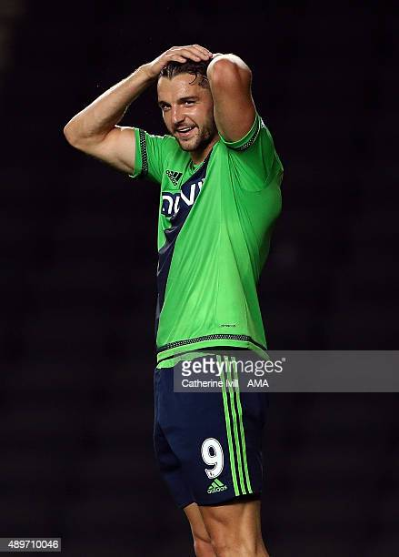 Jay Rodriguez of Southampton reacts during the Capital One Cup third round match between MK Dons and Southampton at Stadium mk on September 23 2015...