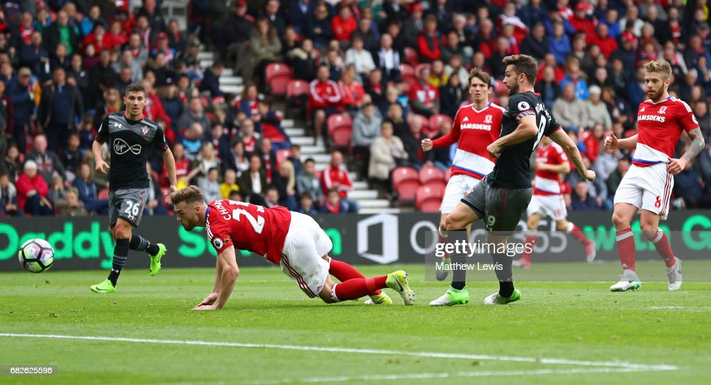 Jay Rodriguez of Southampton scores his sides first goal during the Premier League match between Middlesbrough and Southampton at Riverside Stadium on May 13, 2017 in Middlesbrough, England.