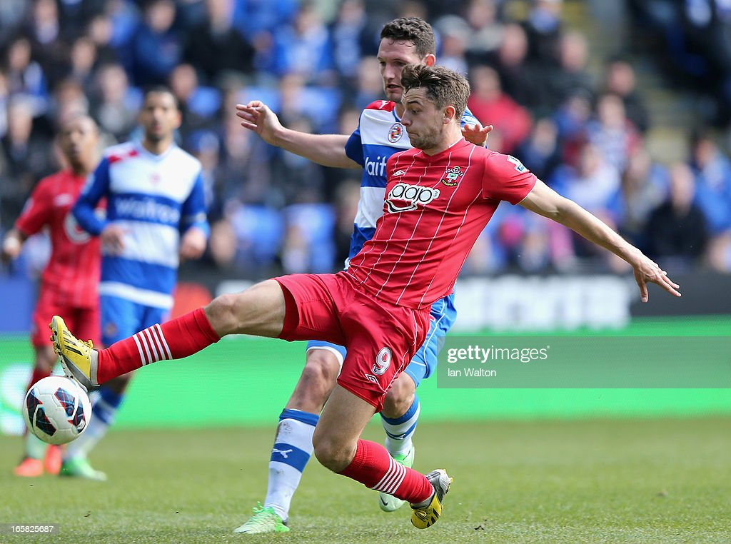 Jay Rodriguez of Southampton scores the opening goal during the Barclays Premier League match between Reading and Southampton at the Madejski Stadium on April 6, 2013 in Reading, England.