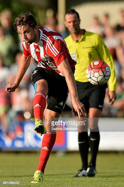Jay Rodriguez of Southampton shoots on goal during the friendly match between KVV Quick 1920 and FC Southampton at Sportpark De Vondersweijde on July...
