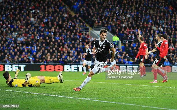 Jay Rodriguez of Southampton turns away after scoring his second goal during the Barclays Premier League match between Cardiff City and Southampton...