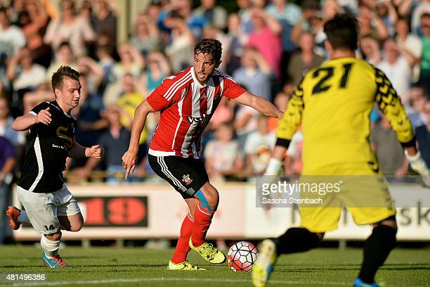 Jay Rodriguez of Southampton vies for the ball during the friendly match between KVV Quick 1920 and FC Southampton at Sportpark De Vondersweijde on...