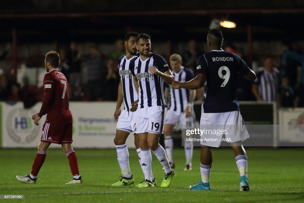 Jay Rodriguez of West Bromwich Albion celebrates after scoring a goal to make it 0-3 during the Carabao Cup Second Round match between Accrington Stanley and West Bromwich Albion at Wham Stadium on August 22, 2017 in Accrington, England.