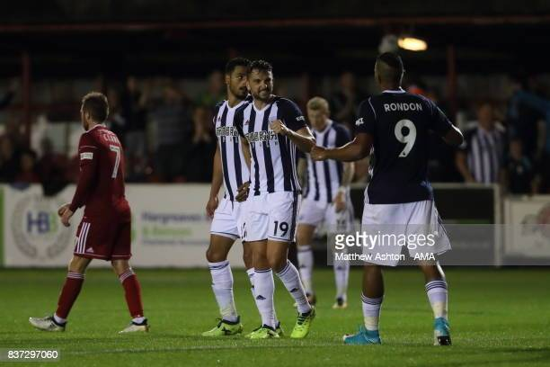 Jay Rodriguez of West Bromwich Albion celebrates after scoring a goal to make it 03 during the Carabao Cup Second Round match between Accrington...
