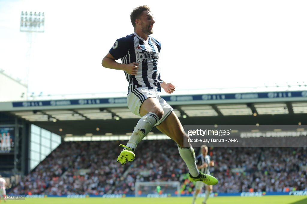 Jay Rodriguez of West Bromwich Albion celebrates after scoring a goal to make it 1-0 during the Premier League match between West Bromwich Albion and Stoke City at The Hawthorns on August 27, 2017 in West Bromwich, England.