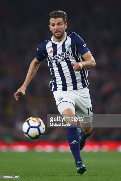 Jay Rodriguez of West Bromwich Albion during the Premier League match between Arsenal and West Bromwich Albion at Emirates Stadium on September 25...