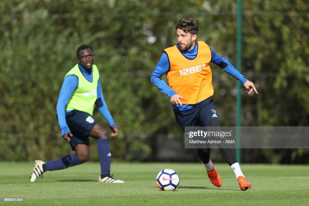 Jay Rodriguez of West Bromwich Albion during the West Bromwich Albion training session on October 12, 2017 in West Bromwich, England.