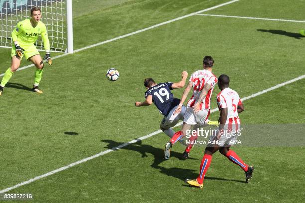 Jay Rodriguez of West Bromwich Albion scores a goal to make it 10 during the Premier League match between West Bromwich Albion and Stoke City at The...