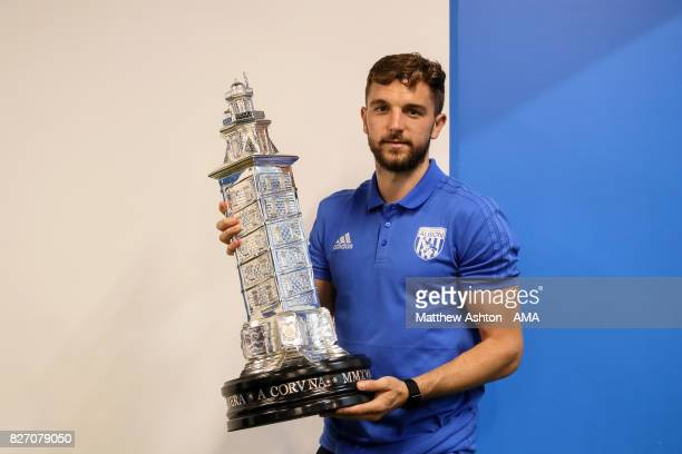 Jay Rodriguez of West Bromwich Albion with a replica of the Teresa Herrera trophy after the PreSeason Friendly between Deportivo de La Coruna and...
