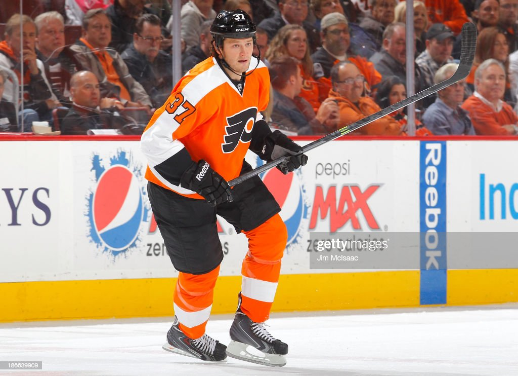 Jay Rosehill of the Philadelphia Flyers in action against the Anaheim Ducks at Wells Fargo Center on October 29 2013 in Philadelphia Pennsylvania The...