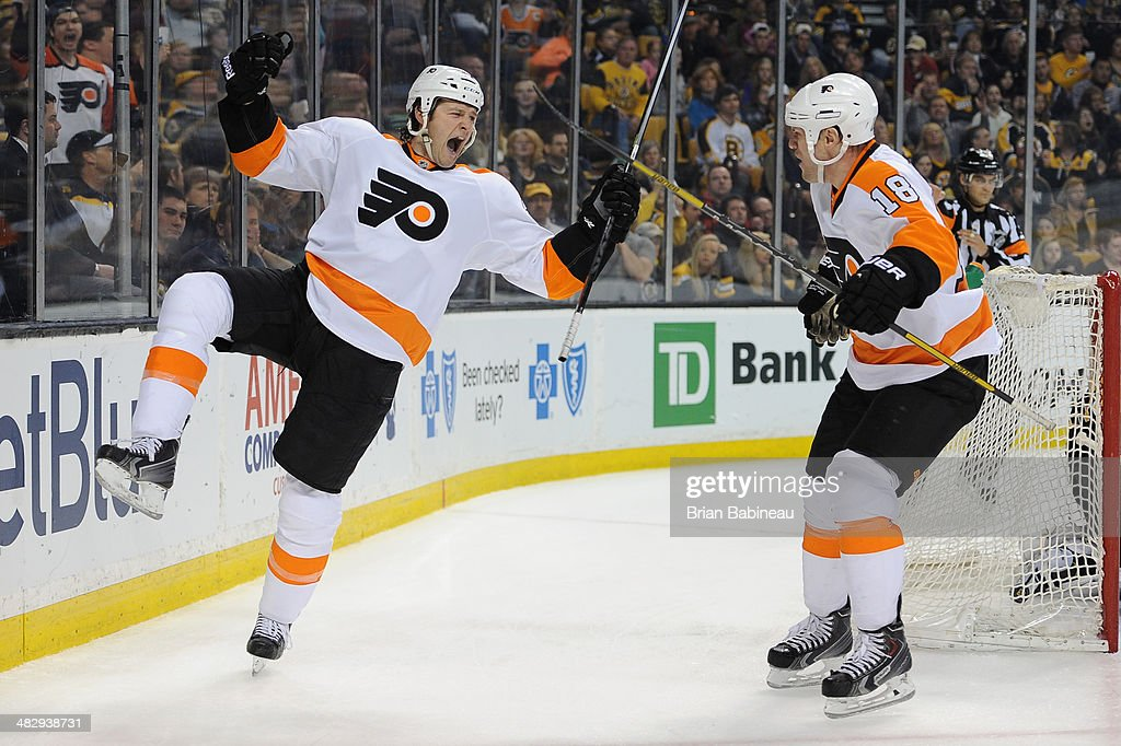 Jay Rosehill of the Philadelphia Flyers scores a goal against the Boston Bruins at the TD Garden on April 5 2014 in Boston Massachusetts