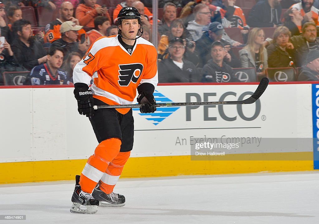 Jay Rosehill of the Philadelphia Flyers skates against the Boston Bruins at the Wells Fargo Center on January 25 2014 in Philadelphia Pennsylvania...