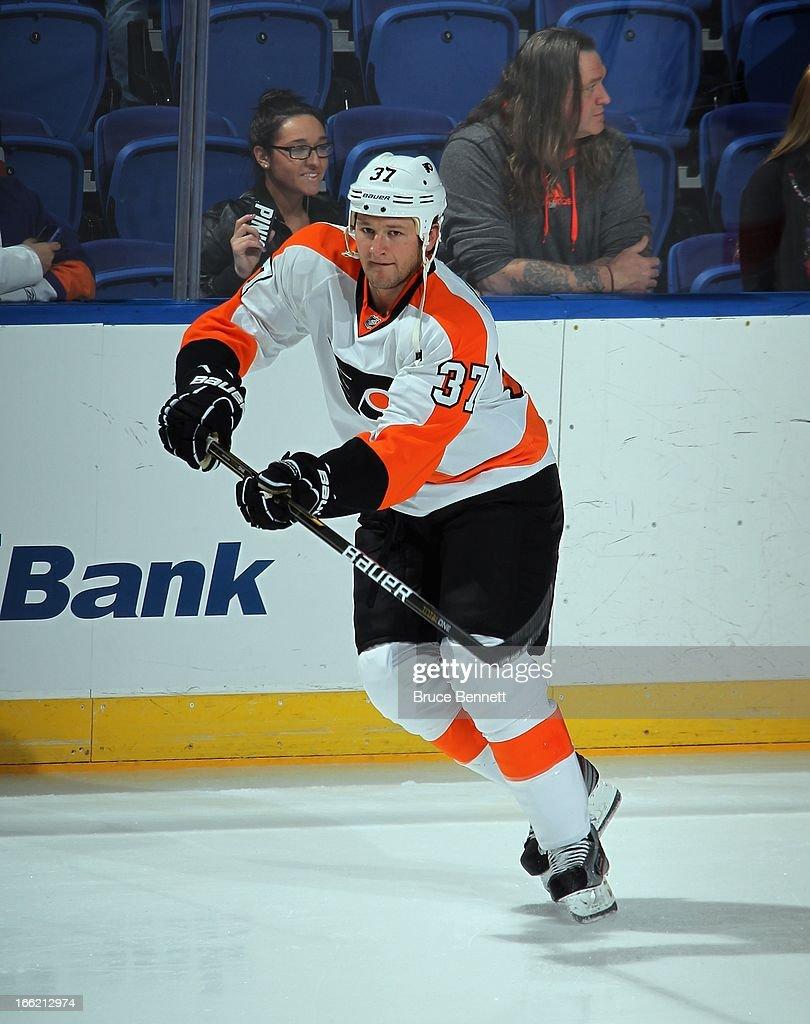 Jay Rosehill #37 of the Philadelphia Flyers skates against the New York Islanders at the Nassau Veterans Memorial Coliseum on April 9, 2013 in Uniondale, New York. The Islanders defeated the Flyers 4-1.