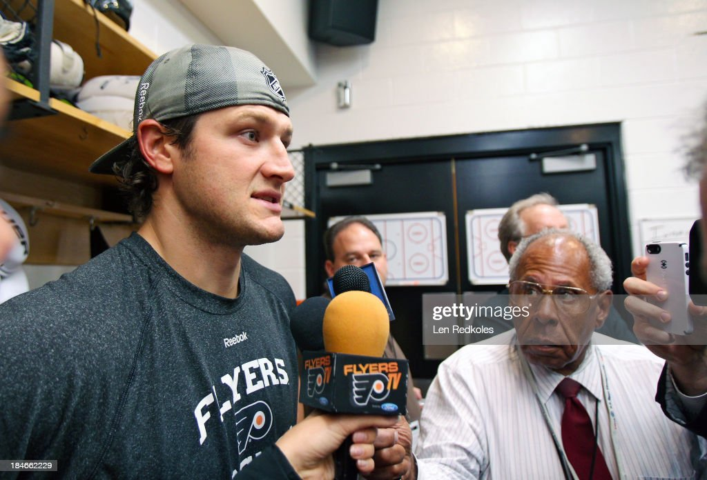 Jay Rosehill of the Philadelphia Flyers speaks to the media after a 21 win over the Florida Panthers on October 8 2013 at the Wells Fargo Center in...