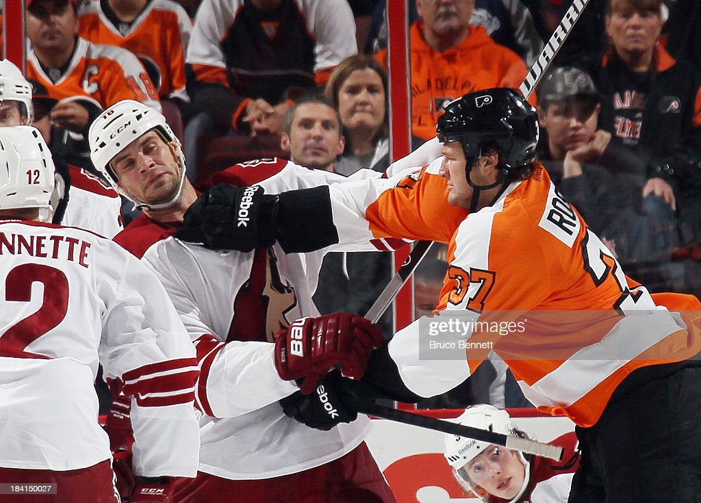 Jay Rosehill of the Philadelphia Flyers takes a shot at Rostislav Klesla of the Phoenix Coyotes during the first period at the Wells Fargo Center on...