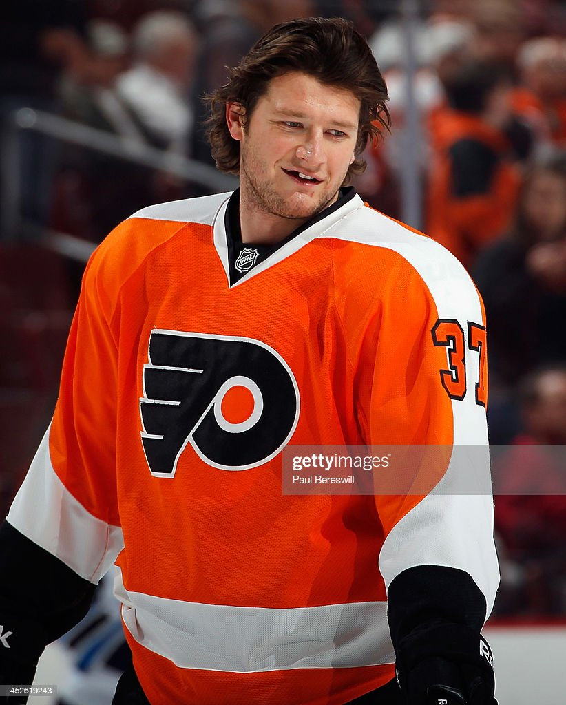 Jay Rosehill of the Philadelphia Flyers waits during warmups before an NHL hockey game against the Winnipeg Jets at Wells Fargo Center on November 29...