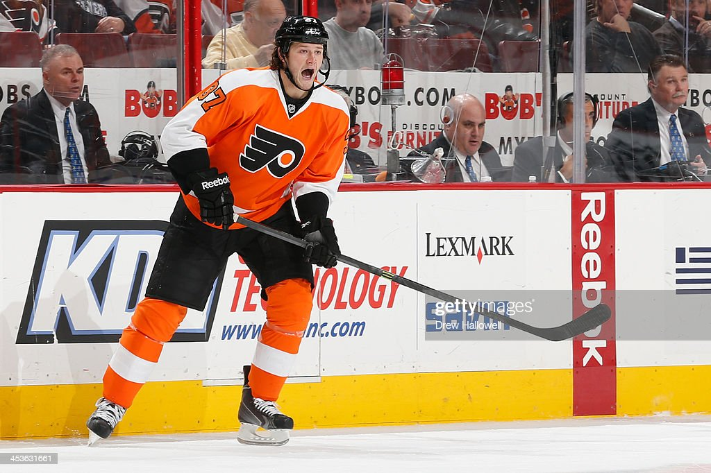 Jay Rosehill of the Philadelphia Flyers yells against the Ottawa Senators at the Wells Fargo Center on November 19 2013 in Philadelphia Pennsylvania