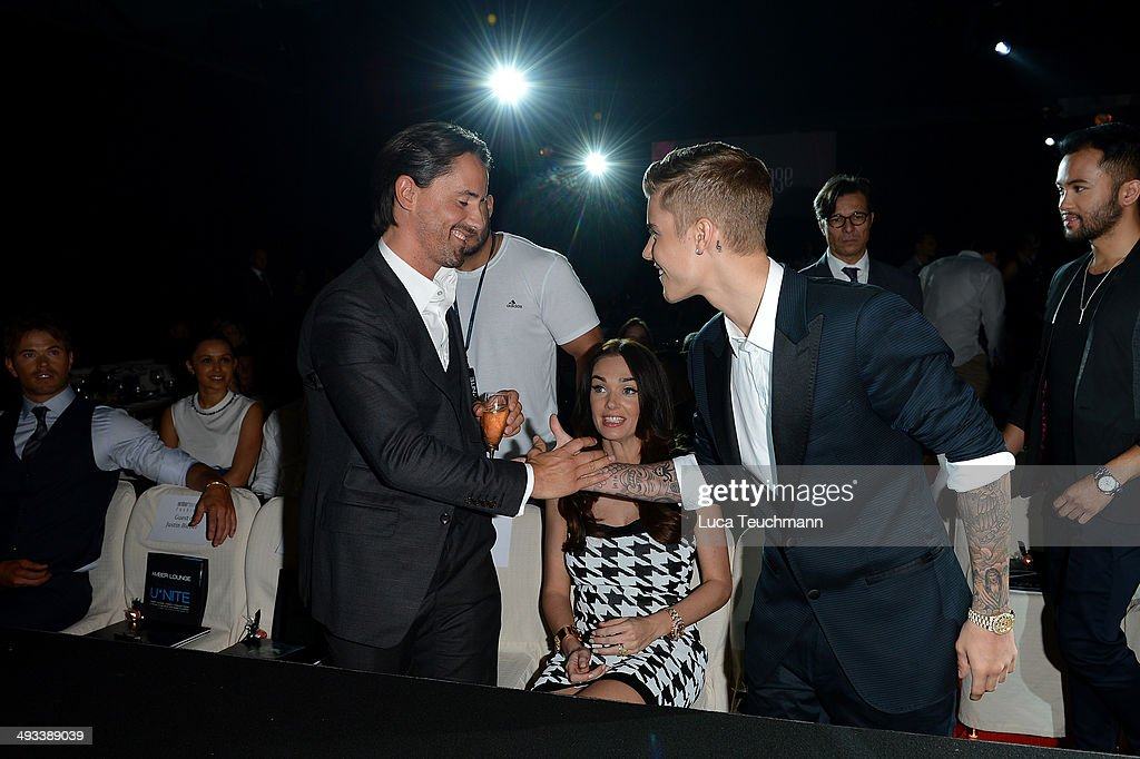 Jay Rutland and Justin Bieber attend the Amber Lounge 2014 Gala at Le Meridien Beach Plaza Hotel on May 23, 2014 in Monte-Carlo, Monaco.