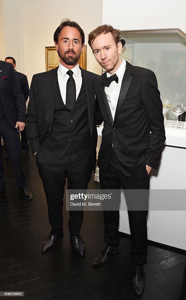 Jay Rutland and Tyler Shields attend a private view of 'Decadence' the new exhibition by American photographer Tyler Shields at Maddox Gallery on...