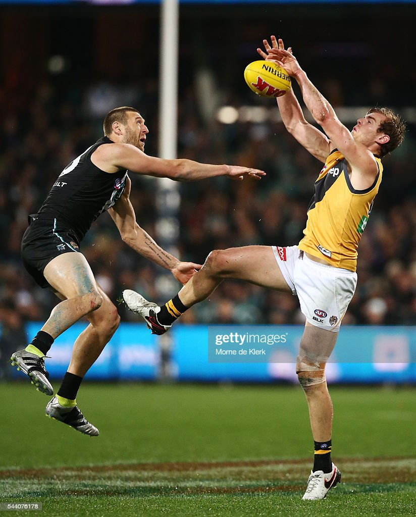 Jay Schulz of the Power competes for the ball during the round 15 AFL match between the Port Adelaide Power and the Richmond Tigers at Adelaide Oval on July 1, 2016 in Adelaide, Australia.