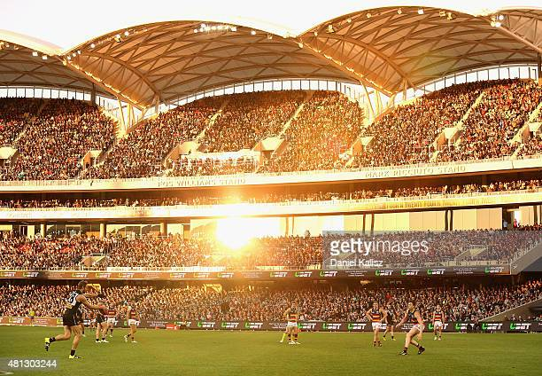 Jay Schulz of the Power kicks the ball during the round 16 AFL match between the Port Adelaide Power and the Adelaide Crows at Adelaide Oval on July...
