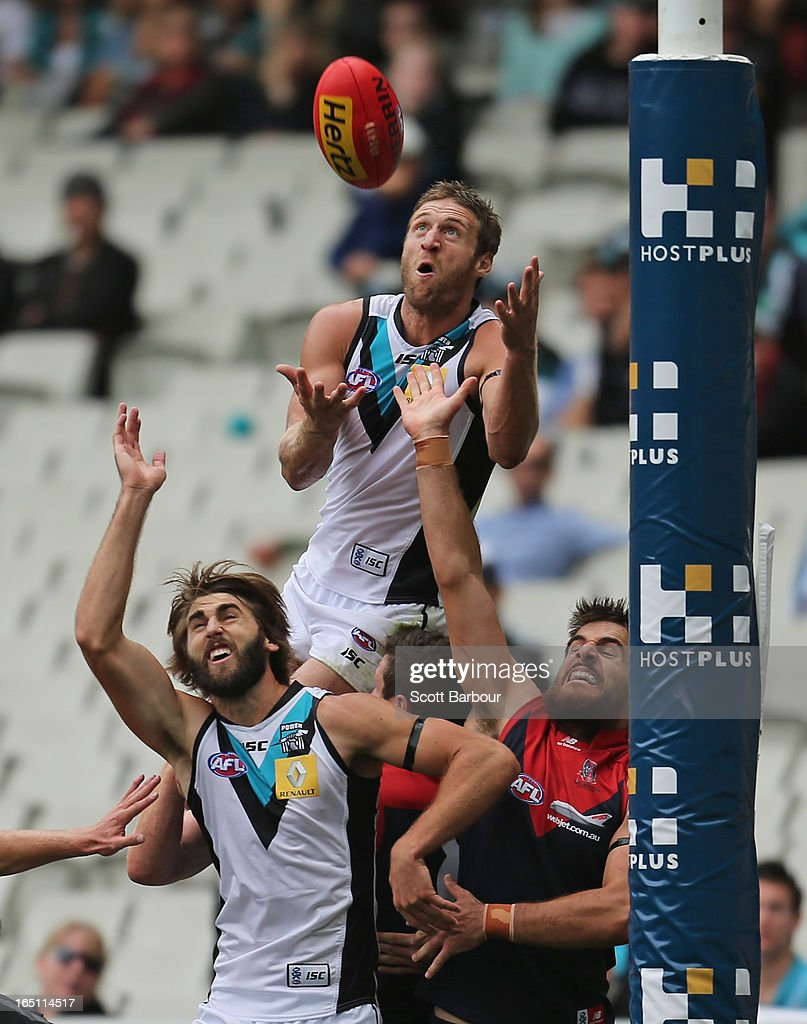 Jay Schulz of the Power takes a mark during the round one AFL match between the Melbourne Demons and Port Adelaide Power at the Melbourne Cricket Ground on March 31, 2013 in Melbourne, Australia.