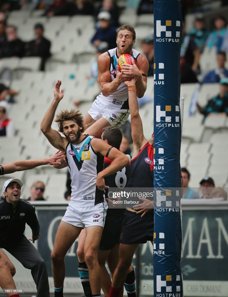 Jay Schulz of the Power takes a mark on the goal line during the round one AFL match between the Melbourne Demons and Port Adelaide Power at the Melbourne Cricket Ground on March 31, 2013 in Melbourne, Australia.