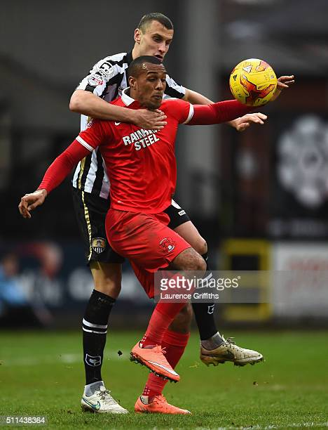 NOTTINGHAM ENGLAND FEBRUARY Jay Simpson of Leyton Orient battles with Haydn Hollis of Notts Conty during the Sky Bet League Two match between Notts...