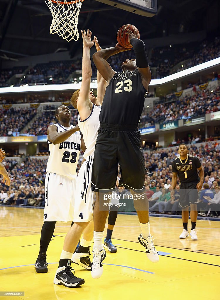 Jay Simpson #23 of the Purdue Boilermakers shoots the ball in the game against the Butler Bulldogs during the 2013 Crossroads Classic at Bankers Life Fieldhouse on December 14, 2013 in Indianapolis, Indiana.