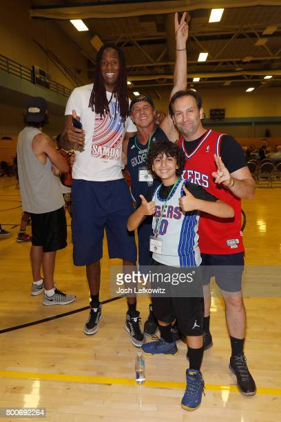 Jay 'Stretch' Middleton and actors Kenny Johnson Kevin Sizemore and Gunnar Sizemore attend the 3rd Annual Celebrity Wheelchair Basketball Game at the...