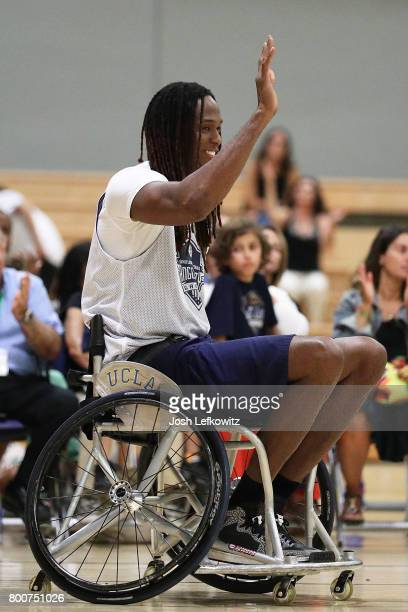 Jay 'Stretch' Middleton plays in a celebrity wheelchair basketball game during the 3rd Annual Celebrity Wheelchair Basketball Game at the John Wooden...
