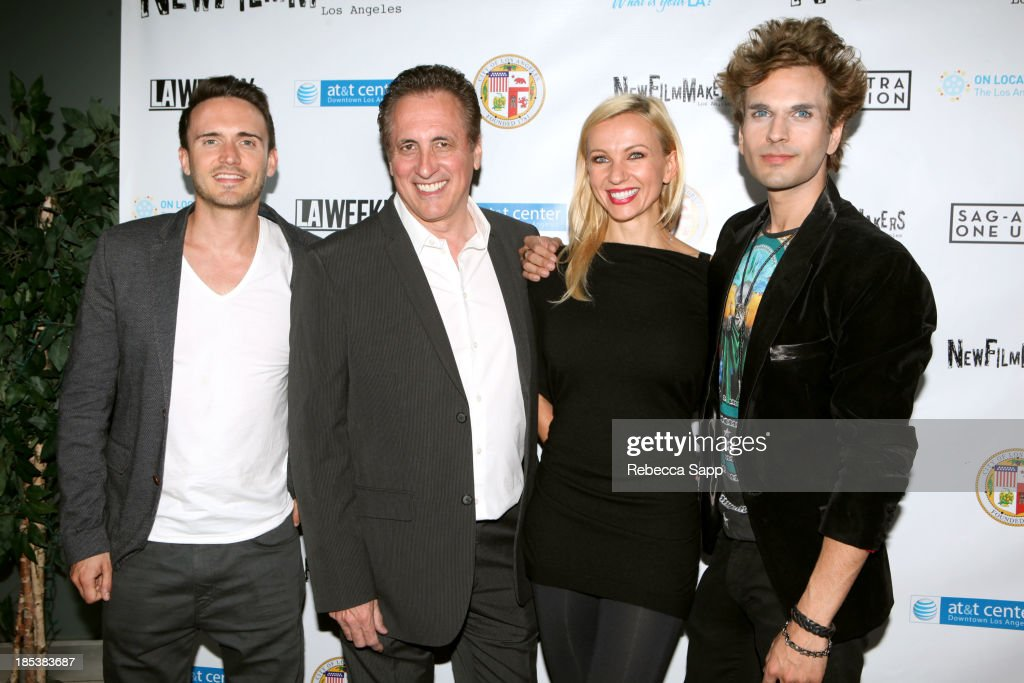 Jay Sutherland, Leonas Cinezano, Ieva Georges and David Firestone arrive at the 3rd Annual On Location: The Los Angeles Video Project 2013 at the AT&T Center on October 19, 2013 in Los Angeles, California.