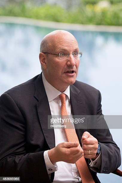 Jay Walder chief executive officer of MTR Corp speaks during a Bloomberg Television interview at the Boao Forum for Asia in Boao Hainan China on...