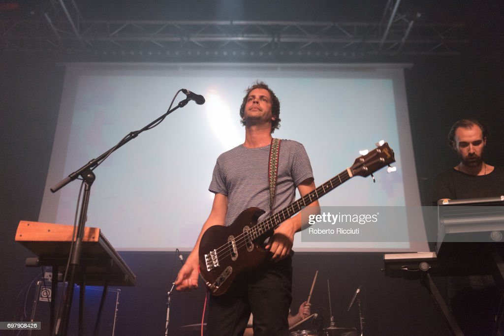 Jay Watson and Jamie Terry of Australian band Pond perform on stage at The Art School on June 19, 2017 in Glasgow, Scotland.