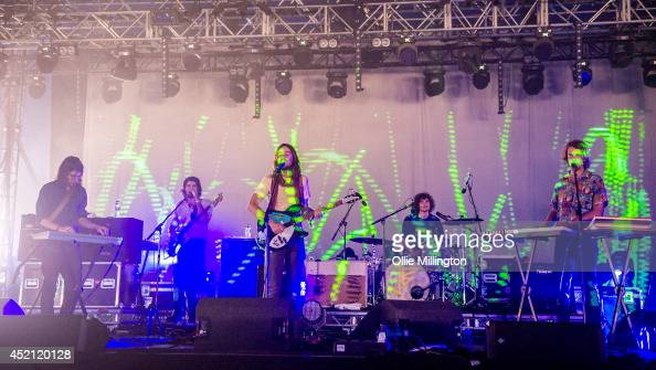 Jay Watson Cam Avery Kevin Parker Julian Barbagallo and Dominic Simper of Tame Impala perform on the King Tuts Wah Wah stage T in The Park on July 13...
