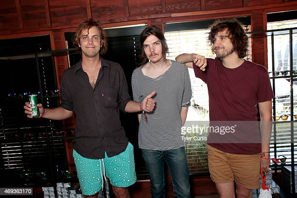 Jay Watson Dominic Simper and Julien Barbagallo of Tame Impala attend The Retreat At The Sparrows Lodge on April 11 2015 in Palm Springs California