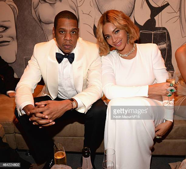 Jay Z and Beyonce attend the 2015 Vanity Fair Oscar Party hosted by Graydon Carter at the Wallis Annenberg Center for the Performing Arts on February...