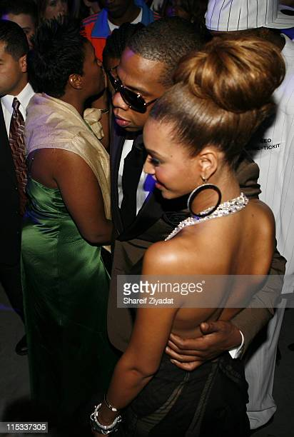 Jay Z and Beyonce during Kanye West's Heaven GRAMMY After Party Sponsored by Entertainment Weekly at The Lot Studios in West Hollywood United States