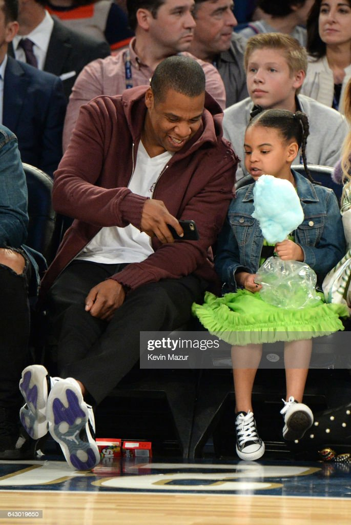 Jay Z and Blue Ivy Carter attend the 66th NBA All-Star Game at Smoothie King Center on February 19, 2017 in New Orleans, Louisiana.